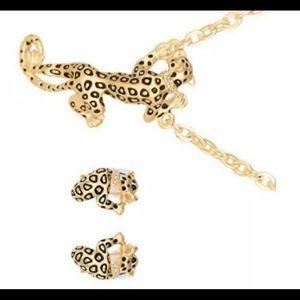 Leopard pendant and matching zircon earrings BJ